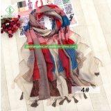 ふさが付いている新しく幾何学的な印刷されたビスコーススカーフの方法女性のショール