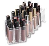 Barra de labios maquillaje de acrílico brillante Organizador 28 espacios diseñados para reposar, descansar horizontalmente y apilarse