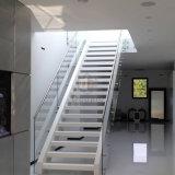 Escalera recta del pasamano de cristal de acero interior de las escaleras