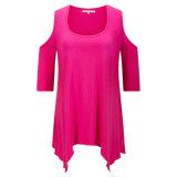 Dickflüssiger runder Stutzen behandeln Kleid mit unregelmäßigem Hemline kühl