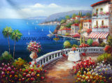 Paisagem mediterrânica pintura a óleo sobre tela artesanais 100%