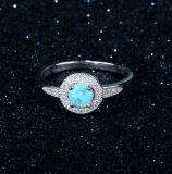 Zirconia cúbico do AAA do Sterling 925 de prata & jóia chapeada da forma do anel ródio Opal azul (557459305280)