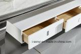 Entfernbare festes Holz-Fach-Edelstahl-Unterseiten-ausgeglichenes Glas-Oberseite Fernsehapparat-Standplatz-Wohnzimmer-Möbel