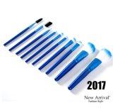 Bleu professionnel 10PCS Brosse pour le maquillage avec OPP sac