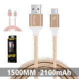 Trenzado Nylon 2.1A USB cable de datos del teléfono móvil de alta velocidad para el tipo-C