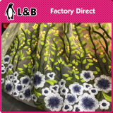刺繍された網の衣服によって着色されるレースファブリック