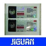 El comercio ayuna con seguridad escritura de la etiqueta brillante impermeable impresa aduana del frasco del holograma de la salida