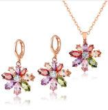 Argent 925 bijoux de conception de fleurs avec Pendentif en pierre de couleur pour la femme Earring Ensemble de collier Bijoux