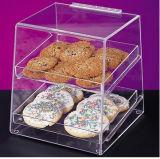 Cas d'exposition acrylique transparent de boulangerie de 3 plateaux avec des portes