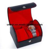 Rectángulo de cuero del reloj del doble del regalo del sostenedor del portador de la caja de la PU