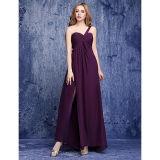 Платье Bridesmaid плеча Пол-Длины шифоновое одно с бортовой задрапировывать