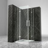Rectángulo de cristal endurecido simple enmarcado cromado 90X90 de la cabina de la ducha