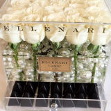 Caixa de oferta de flores de acrílico com chocolate ou gaveta de jóias