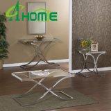 Conjunto de cristal de la mesa de centro de la base del acero inoxidable del diseño del espejo
