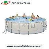 Bene durevole sopra la piscina rotonda del raggruppamento del blocco per grafici al suolo del metallo
