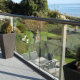 手すりが付いている現代的な家の階段の吹き抜けの塀の鋼鉄ガラス柵