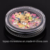 Neuf obtiennent Accessoire 5 cercles d'or de pierre gemme d'interpréteurs de commandes interactifs de mélange de modèle de clou de cadres et Rhinestones en cristal pour les décorations de clous (ND08)
