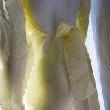 Vestido amarelo cortado dívida da isolação de SMS com punhos feitos malha