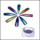 Pfau-ganz eigenhändig geschriebes Chamäleon-Nagel-Kunst-Laser-Funkeln-Spiegel-Chrom-Pigment