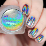 Láser holográfica Nail Holo Glitter de cromo brillante arco iris de pigmento en polvo