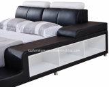 Регулируемая кровать кожи спальни Hearboard самомоднейшая с хранением