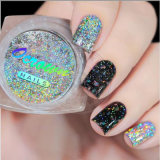 21591 Ocrown láser holográfica Glitter Silver Metallic Eyeshadow polvo