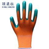 Zwischenlage-Grün-Nitril-überzogene Sicherheits-Handschuhe des Polyester-13G mit Cer