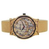 Venda por grosso de bambu de moda ver homens e mulheres couro artesanais barata o logotipo personalizado relógio de pulso de madeira