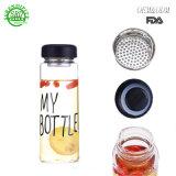 Het klantgerichte Embleem berijpte de Transparante Fles van de Drank van het Glas