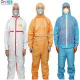 Водонепроницаемый CATIII типа5/6 защитную одежду микропористый/нетканого материала/SBPP/SF/PE/SMS/промышленности/больница/лаборатории/безопасности одноразовые микро пленку Coverall, общей