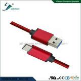 O USB datilografa o cabo cobrando de C com trança vermelha e Ce principal RoHS de Matel