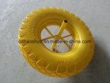 Roda da espuma do plutônio do amarelo 3.50-8 com borda de aço