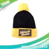 Sombrero hecho punto gorrita tejida abofeteado modificado para requisitos particulares con la bola del Pompom (092)