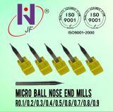 Venta caliente de carburo sólido serie Micro 2 Flautas Bola Molino de final de la nariz de alto rendimiento recubierto Tisin