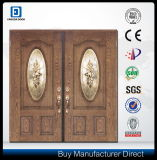 Porte décorative de fibre de verre d'entrée de double en verre Tempered