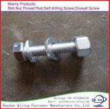 Boulon Hex de Zp de la pente 8.8 de tension élevée avec la noix DIN933