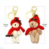 빨간 모자 색안경 열쇠 고리를 가진 형식 장난감 곰