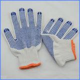 Buoni guanti del cotone di prezzi con le fossette di gomma