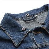 Revestimento encapuçado de Jean do prendedor da cor do contraste do lazer para a roupa do homem