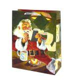De Zakken van de Gift van Kerstmis met schitteren en de Zegels van de Folie, de Zak van de Gift van het Document, de Zak van de Gift, de Zak van de Gift van het Document van Kraftpapier