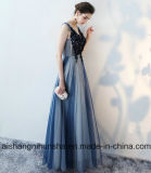 """Vestido de noite com cordões do Assoalho-Comprimento do vestido do baile de finalistas dos Appliques """"sexy"""" de Tulle da V-Garganta"""