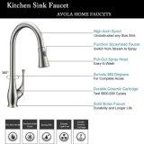 Faucet de cozinha, aço inoxidável escovado, único punho, puxar, pulverizador, cozinha, misturador, torneira