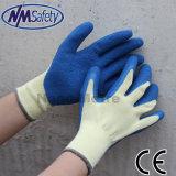 Revêtement de paume en polyester jaune Nmsafety gants de latex bleu de la Chine fabrique