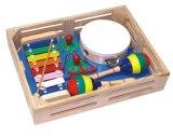 Jouet en bois ensemble un instrument de musique dans une boîte