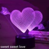 Lamp van de Kleur van de Regenboog van de creatieve 3D Lichte LEIDENE Lamp van de Lamp USB de Kleurrijke Acryl 3D Stereo