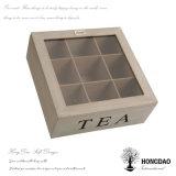 Hongdao madera caja de té cubierta de vidrio y bisagras