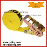"""Correias de guincho amarelas de 4 """"X 40 'com gancho plano e defensor"""