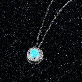 Silberne Schmucksache-blauer Opal mit Halskette für Frauen-Form-Schmucksachen