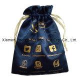 Piccolo sacchetto del regalo dei monili del tessuto del raso del poliestere di alta qualità reso personale modo