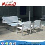 Edelstahl-Leder/Aluminiumschnittsofa stellten mit seitlichem Tisch ein